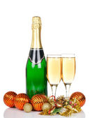 Champagne with Christmas ornaments — Stok fotoğraf