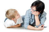 The boy with sister isolated — Stock Photo