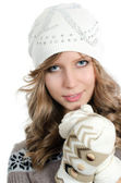 The beautiful girl in mittens — Stock Photo