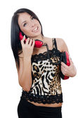 The beautiful girl with red phone — Stock Photo