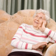 Portrait of the old woman on a sofa - Stock Photo