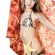 Stock Photo: The young beautiful girl with a starfish isolated