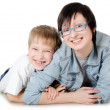 The boy with sister isolated — Stock Photo #8683055