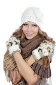 The beautiful girl in mittens — Stockfoto