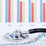 Stethoscope on a stock chart - market analysis — Stock Photo