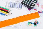 グラフ、チャート、ビジネス テーブル。ビジネスの職場 — ストック写真