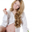 The pregnant woman with Vegetables — Stock Photo