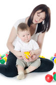 The little boy plays with mum — Stock Photo
