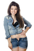 The beautiful girl in jeans Jacket — Stock Photo
