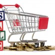 Shopping cart and coins — Stock Photo #9149334