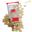Shopping cart and coins - Photo