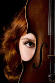 The beautiful girl with a violin — Stock Photo