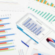 Graphs, charts, business table. The workplace of business — Stockfoto
