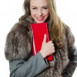 The beautiful girl with red handbag — Stock Photo #9486689