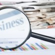 Business diagramme with magnifying glass - Lizenzfreies Foto