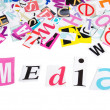 The letters which have been cut out from newspapers - Word MEDIA — Stock Photo