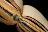 The old books on black — Stock Photo
