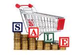 硬币的图表,购物车和 word 销售形式 — 图库照片
