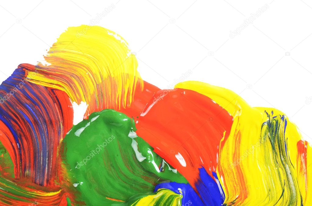 Abstract dabs colour paints on white background  Stock Photo #9486653