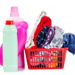 Heap of pure clothes with different detergent - Stock Photo