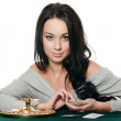 The beautiful girl with playing card — Stock Photo #9641665