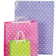 Bright gift bags isolated on white — Stock Photo