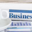 Coffee and the fresh newspaper - morning of the businessman - Foto Stock
