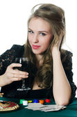 The beautiful girl with wine glass — Stock Photo