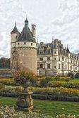 Jardín y chateau de chenonceau — Foto de Stock