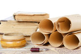 Many ancient scrolls on old letters — Stock Photo