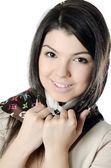 一条围巾,穆斯林在美丽的女孩 — 图库照片