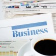 Coffee and the fresh newspaper - morning of the businessman — Stock Photo #9865912