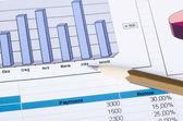 Gráficos, gráficos, mesa de negócios. o local de trabalho de negócios — Fotografia Stock