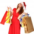 Young girl with Christmas gifts — Stock Photo
