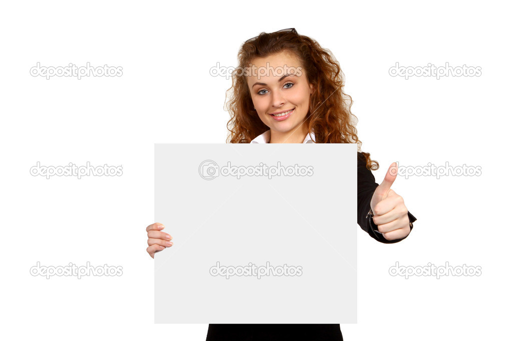 Portrait of attractive young business woman with blank signboard, showing ok. Isolated on white background  Stock Photo #9406775