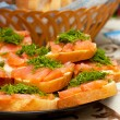 Sandwiches with red fish — Stockfoto