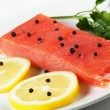 Foto de Stock  : Salmon on plate