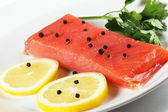 Salmon on a plate — Foto de Stock