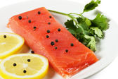 Salmon on a plate — Stock Photo