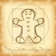 Christmas greeting card with vitruvian gingerbread - Stock Vector