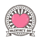 Grunge rubber stamp with heart. Valentine's Day lettering. — Vector de stock