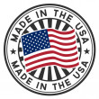Vector stamp with flag of USA. Lettering Made in USA. — Vector de stock #9211669