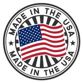 Vector stamp with flag of the USA. Lettering Made in the USA. — Vector de stock