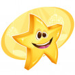 Shiny star smiling with disco balls on background — Stock Vector