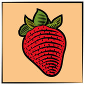 Strawberry-engraving-color — ストックベクタ