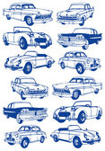 Cars-old-background — Stock Vector