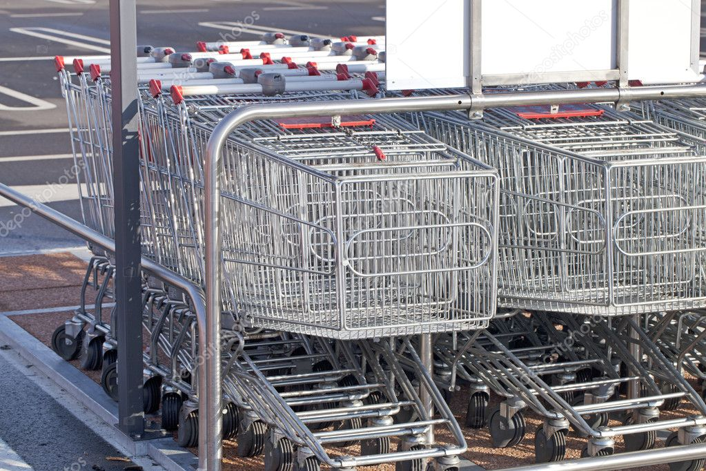 Supermarket trolleys — Stock Photo #9845532