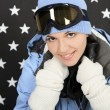 Happy girl  in the winter sportwear — Stockfoto