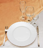 Dinner plate, knife and fork — Stock Photo