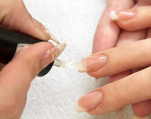 Manicure making - female hands, covering of transparent enamel — Stock Photo